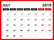 Skrivbordkalendern för den JULI 2019 mallen, den tryckbara kalendern, stadsplaneraredesignmallen, vecka startar på söndag, brevpa vektor illustrationer