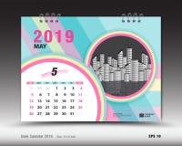 Skrivbordkalendern för den MAJ 2019 mallen, den tryckbara kalendern, stadsplaneraredesignmallen, vecka startar på söndag Royaltyfri Illustrationer