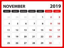 Skrivbordkalendern för den NOVEMBER 2019 mallen, den tryckbara kalendern, stadsplaneraredesignmallen, vecka startar på söndag, br stock illustrationer