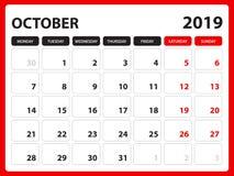 Skrivbordkalendern för den OKTOBER 2019 mallen, den tryckbara kalendern, stadsplaneraredesignmallen, vecka startar på söndag, bre stock illustrationer
