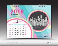 Skrivbordkalendern för mall för MARS 2019, den tryckbara kalendern, stadsplaneraredesignmallen, vecka startar på söndag Royaltyfri Illustrationer