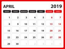 Skrivbordkalendern för mallen APRIL2019, den tryckbara kalendern, stadsplaneraredesignmallen, vecka startar på söndag, brevpapper royaltyfri illustrationer