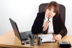 skrivbordkvinna för 11 affär Arkivfoton