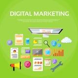 Skrivbords- arbetsstation för Digital marknadsföringsWorkspace vektor illustrationer