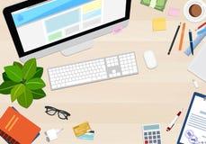 Skrivbords- bästa sikt med olika objekt, vektorillustration Fotografering för Bildbyråer