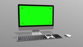 skrivbords- dator 3D med en grön skärm på en fast vit bakgrund royaltyfri illustrationer