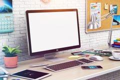 Skrivbords- dator med den tomma skärmen i modern workspace stock illustrationer