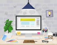 Skrivbords- grafisk formgivare, vektorillustration stock illustrationer