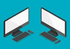 Skrivbords- isometrisk illustration för 30 grad för plan dator vektor Royaltyfria Foton