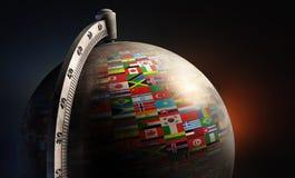 Skrivbords- jordklot för tappningmetall med nationflaggor Fotografering för Bildbyråer