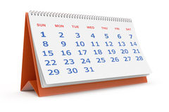 Skrivbords- kalender royaltyfri illustrationer