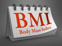 Skrivbords- kalender med BMI-begrepp. Royaltyfri Foto
