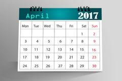 Skrivbords- kalenderdesign 2017 Royaltyfria Bilder