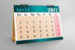 Skrivbords- kalenderdesign 2017 Arkivfoto