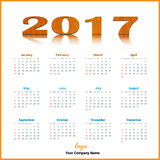 Skrivbords- kalenderdesignvektor 2017 och redigerbart Fotografering för Bildbyråer