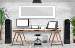 Skrivbords- modell, illustration 3D Fotografering för Bildbyråer