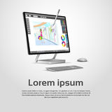 Skrivbords- modern grafisk formgivare Workplace för dator vektor illustrationer