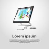 Skrivbords- modern grafisk formgivare Workplace för dator stock illustrationer