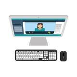 Skrivbords- PC för dator med tangentbordet och musen Arkivbild