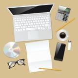 Skrivbords- sikt för kontor royaltyfri illustrationer