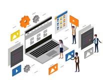 Skrivbords- UI/UX rengöringsdukdesign för dator och utvecklingsbegrepp stock illustrationer