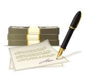 Skrivbordsarbete för kontant pengar Royaltyfria Foton