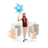 Skrivbordsarbete för pappers- dokument för ljus kula för affärsman ny idé staplad royaltyfri illustrationer