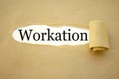 Skrivbordsarbete med workation royaltyfri foto
