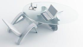 Skrivbordstol och en bärbar dator Royaltyfri Foto