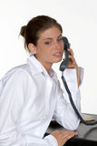 skrivbordtelefonkvinna Arkivbilder