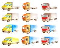 Skriver den fastställda samlingen för vattenfärgen av medellastbilar, lastbilar, skåpbilar i olika färger, i vit bakgrund royaltyfri illustrationer
