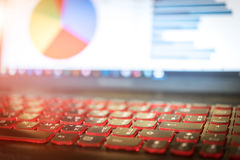 Skriver in den finansiella rapporten för analys på bärbara datorn, fokusval på ke Royaltyfri Fotografi