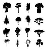 Skriver det svarta olika trädet för konturn symbolsuppsättningen vektor Royaltyfria Foton