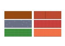 Skriver taktegelplattor, tak för hus, olika färger, texturer, material royaltyfri illustrationer