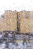 skrivet h2o-raindropsfönster Fotografering för Bildbyråer