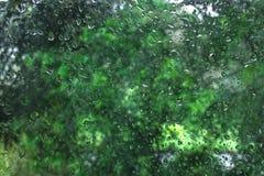 skrivet h2o-raindropsfönster Arkivbild