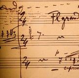 skrivet musikaliskt beteckningssystem för hand Arkivfoton