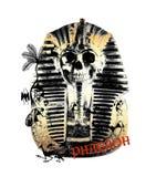 skrivev den etniska t-skjortan ut för farao royaltyfri illustrationer