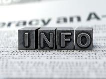 Skrivmaskin för begrepp för information om informationssymbol arkivfoto