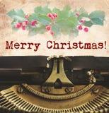 Skrivmaskin för glad jul Fotografering för Bildbyråer