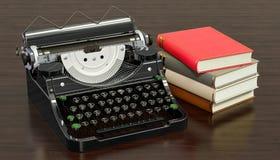 Skrivmaskin med böcker på trätabellen, tolkning 3D royaltyfri illustrationer