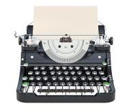 Skrivmaskin med papper, främre sikt framförande 3d stock illustrationer