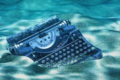 Skrivmaskin på undervattens- havbotten framförande 3d royaltyfri illustrationer