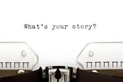 Skrivmaskin vad är din berättelse Royaltyfri Bild