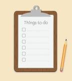 Skrivplatta med som gör listan på papper och blyertspennan vektor illustrationer