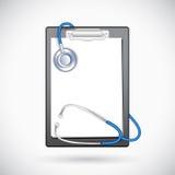 Skrivplatta med stetoskopet vektor illustrationer