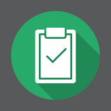 Skrivplatta med symbolen för lägenhet för kontrollfläck Rund färgrik knapp, runt vektortecken med lång skuggaeffekt stock illustrationer