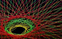 Skärm av färgrika trådar Arkivfoto