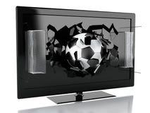 skärm för tv 3d med bollen och netto porten för fotboll Fotografering för Bildbyråer