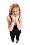 Skrämd och stressad ung affärskvinna Arkivbild